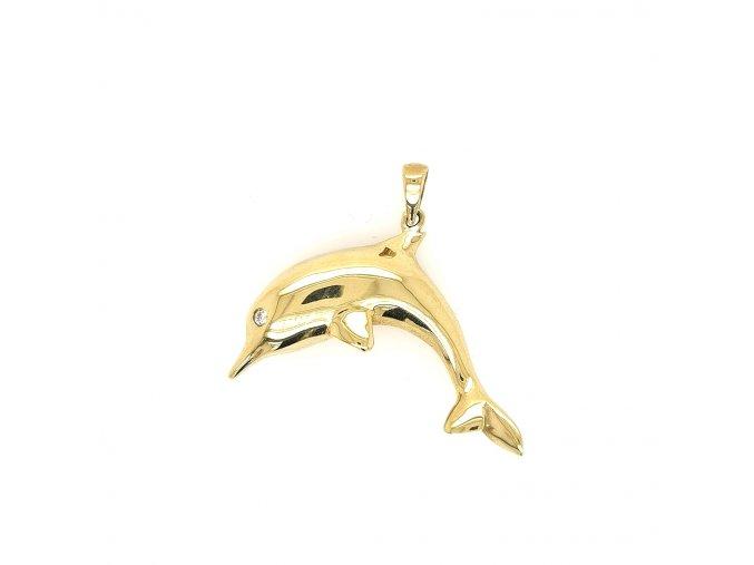 Přívěšek ze žlutého zlata 585/1000 s motivem delfína a zirkonem