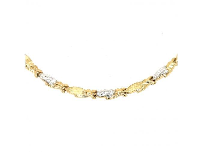 Dámský náhrdelník ze žlutého zlata 585/1000 s kombinací bílého zlata