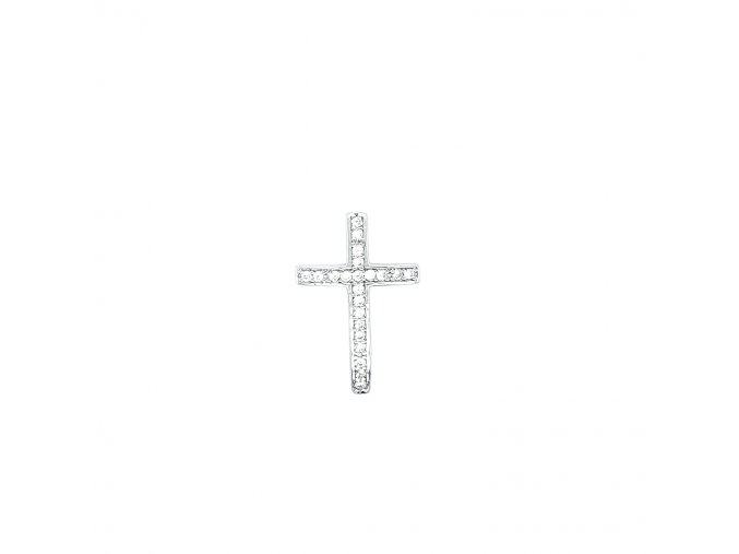 Dámský stříbrný přívěšek 925/1000 se zirkony a motivem kříže