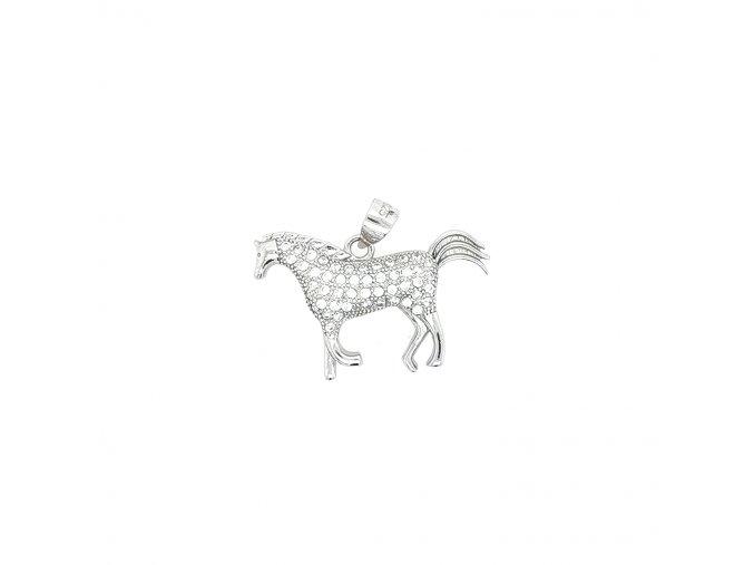 Dámský stříbrný přívěšek 925/1000 se zirkony a motivem koně