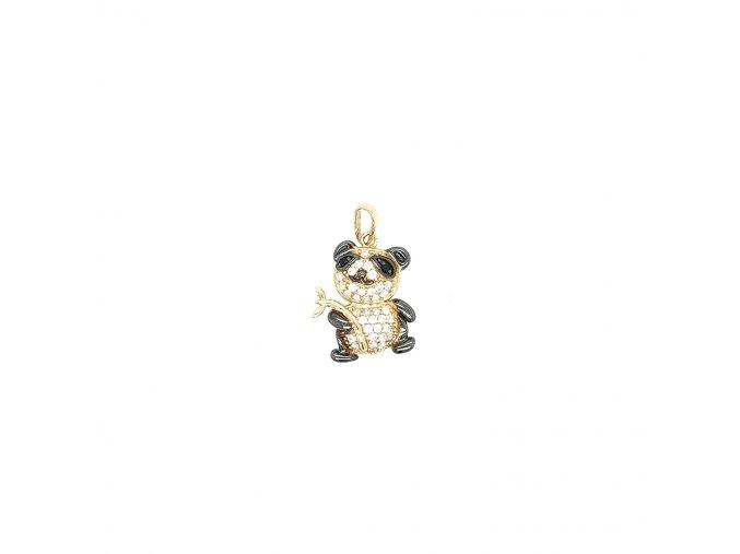 Dámský přívěšek ze žlutého zlata 585/1000 se zirkony a motivem pandy