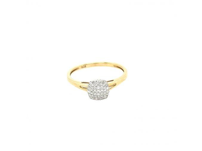Dámský prsten ze žlutého zlata 585/1000 s brilianty