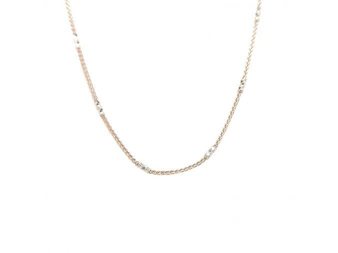 Dámský řetízek z růžového zlata 585/1000 s bílým zlatem