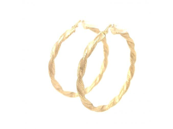 Dámské náušnice kruhy ze žlutého zlata 585/1000 s gravírováním
