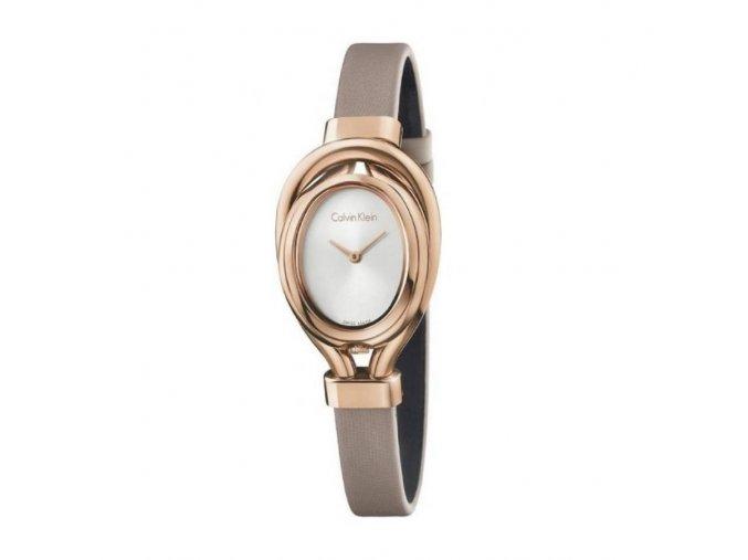 Dámské hodinky Calvin Klein K5H236X6 s béžovým koženým řemínkem