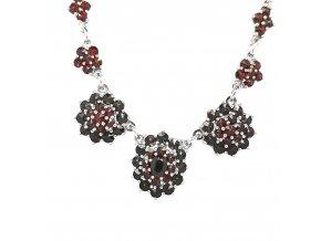 Dámský stříbrný náhrdelník s českým granátem 925/1000