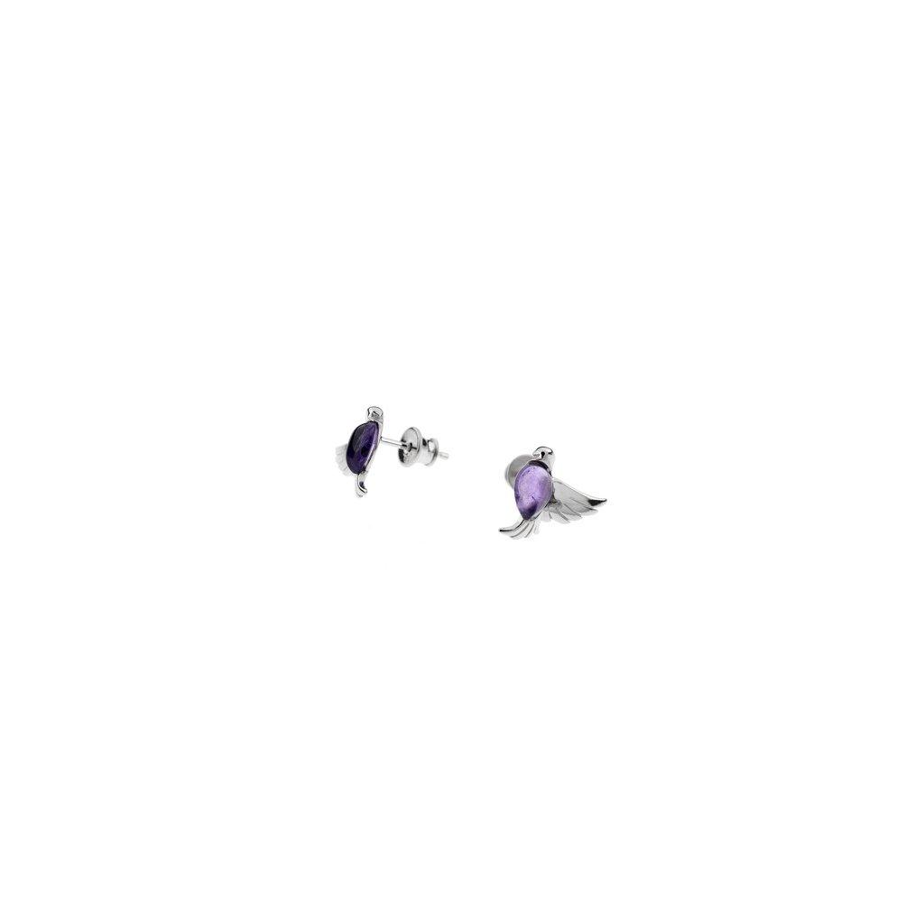 stříbrné náušnice s ametystem ptáčci