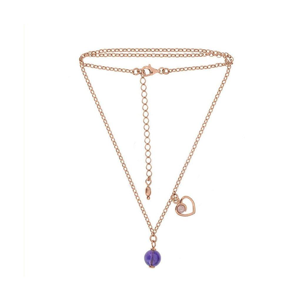 náhrdelník s ametystem a křemenem
