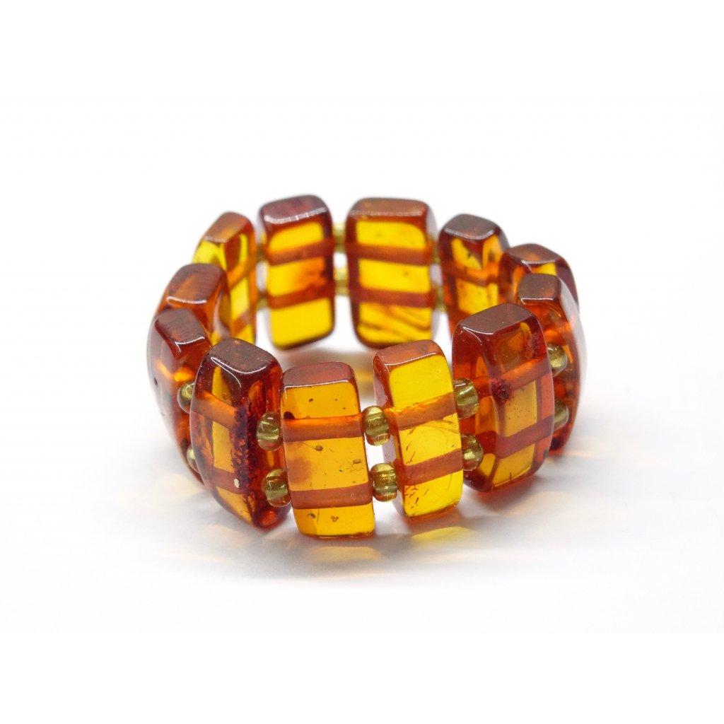 645 1 pruzny prstynek z jantaru medovy