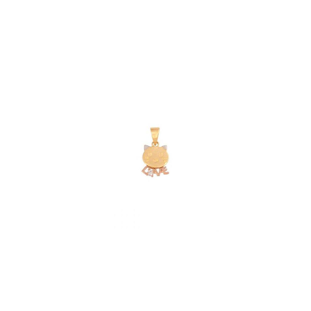 Přívěsek  koťátko se zirkonem - tři barvy zlata