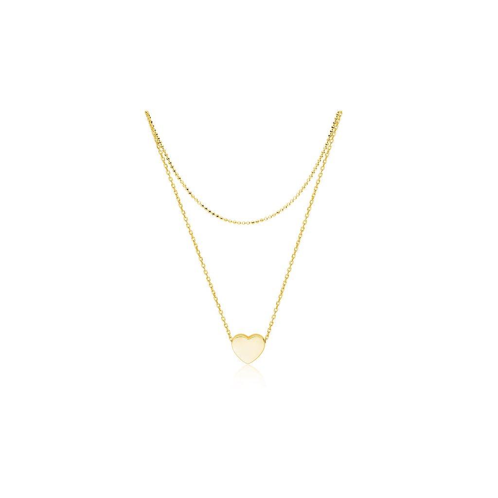 zlatý náhrdelník srdce