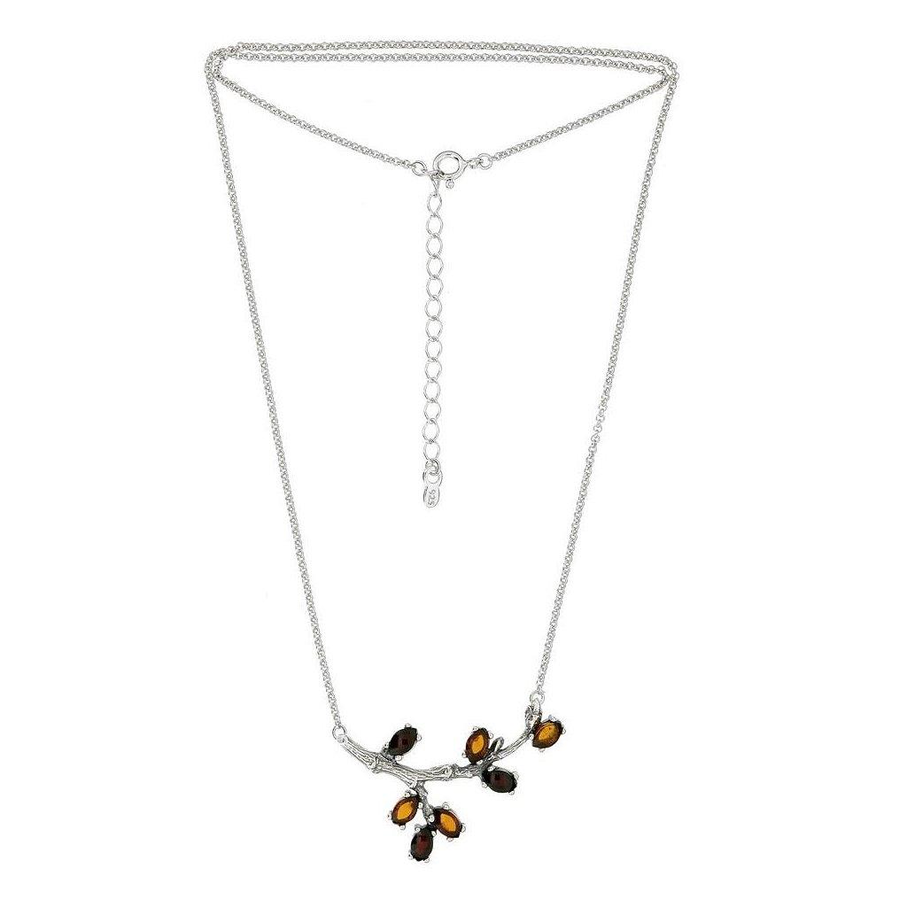 stříbrný náhrdelník s jantarem větvička