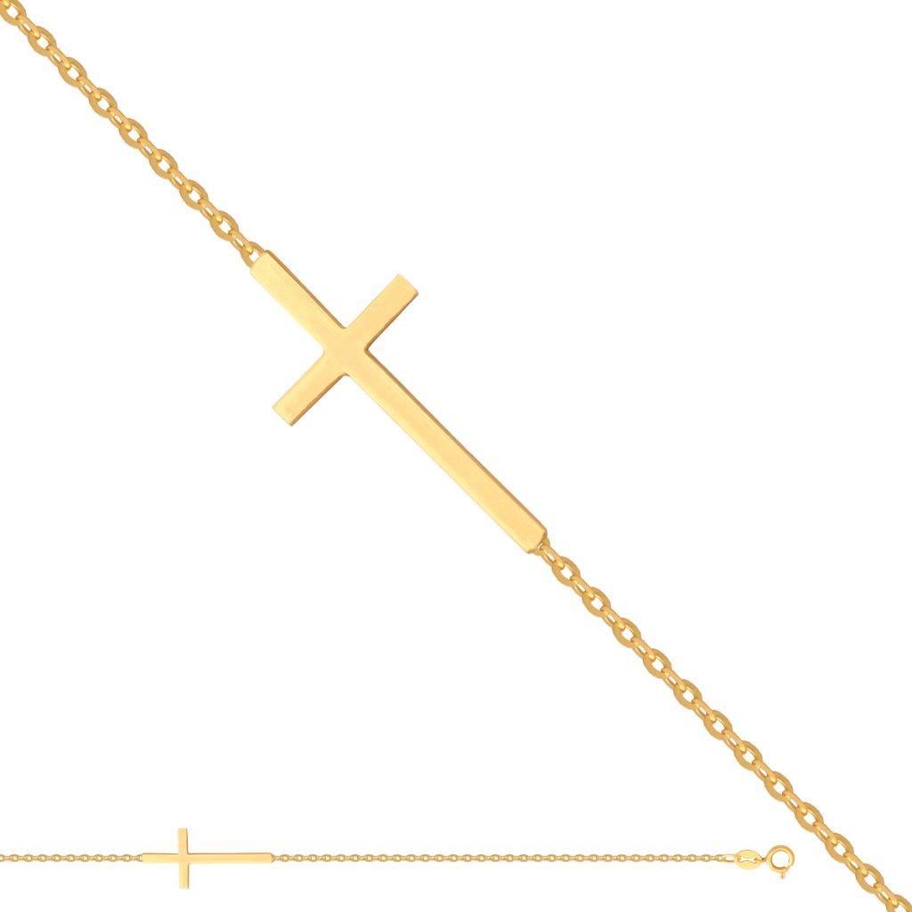 zlatý náramek kříž