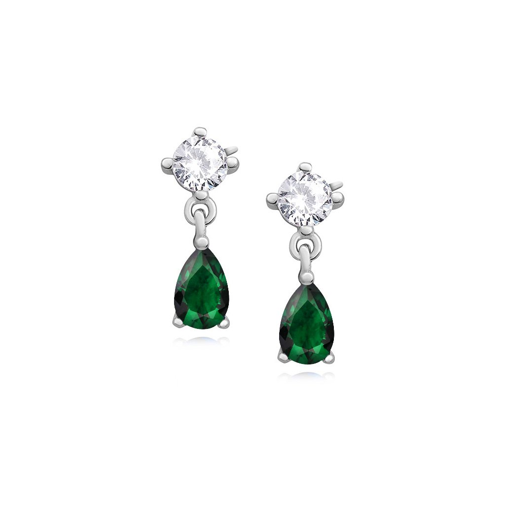 náušnice slza zelené smaragdové elegantní