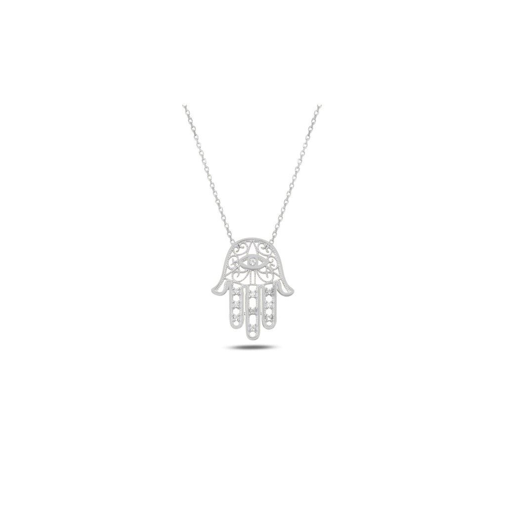 Luxusní stříbrný náhrdelník Hamsa zirkony