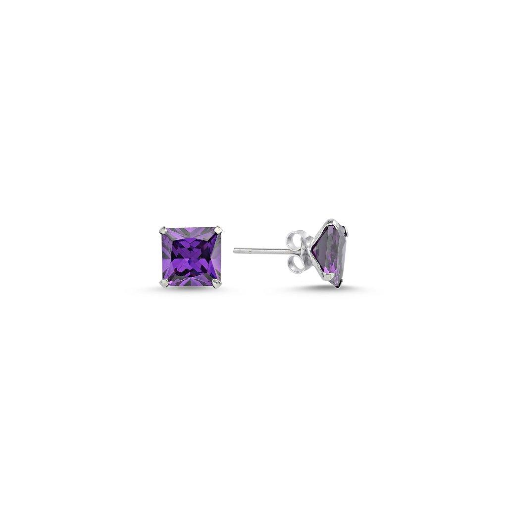 Stříbrné čtvercové náušnice 8 mm fialová