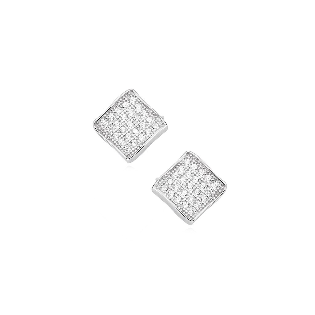 Stříbrné náušnice zirkonové kosočtverce