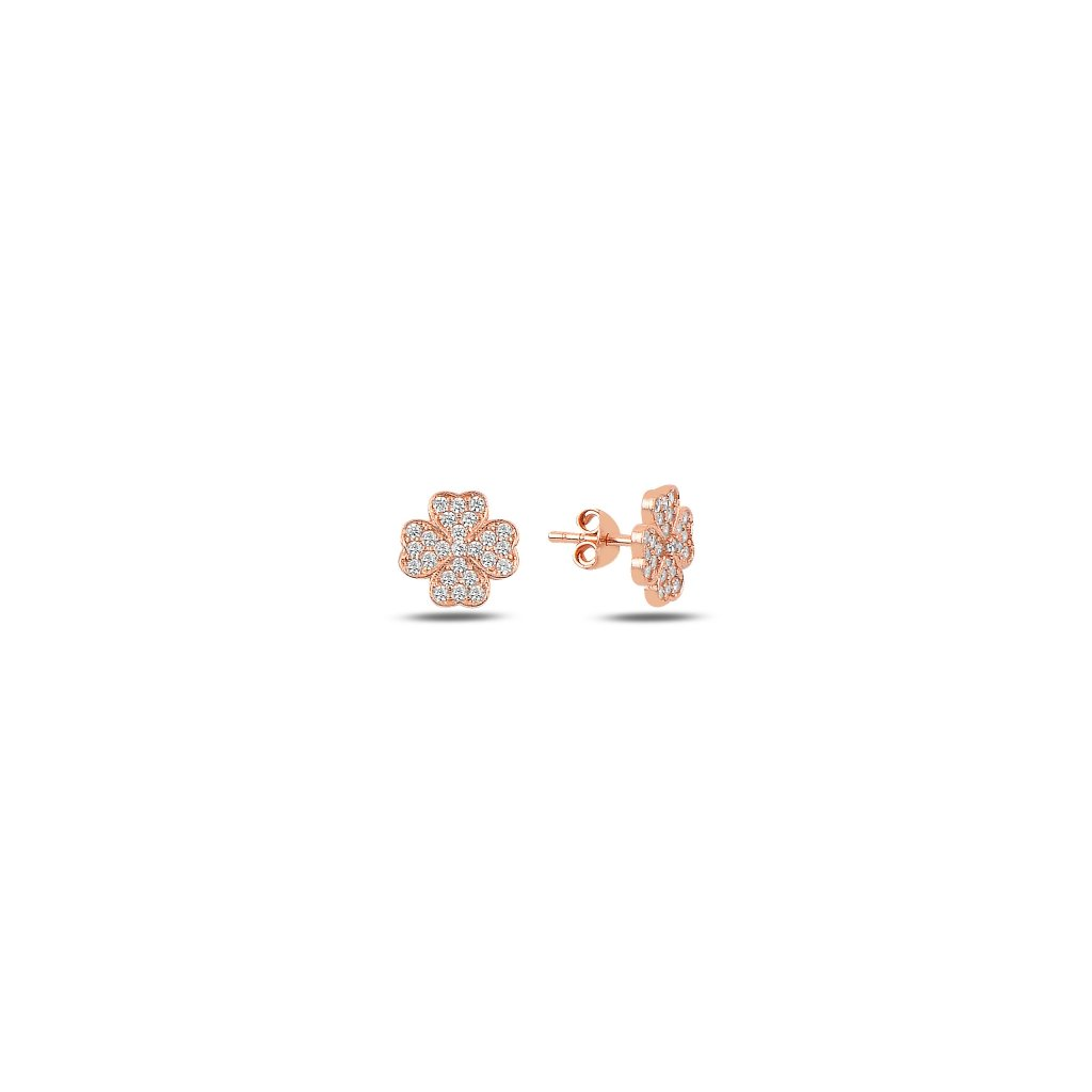 Stříbrné náušnice čtyřlístek růžové zlato