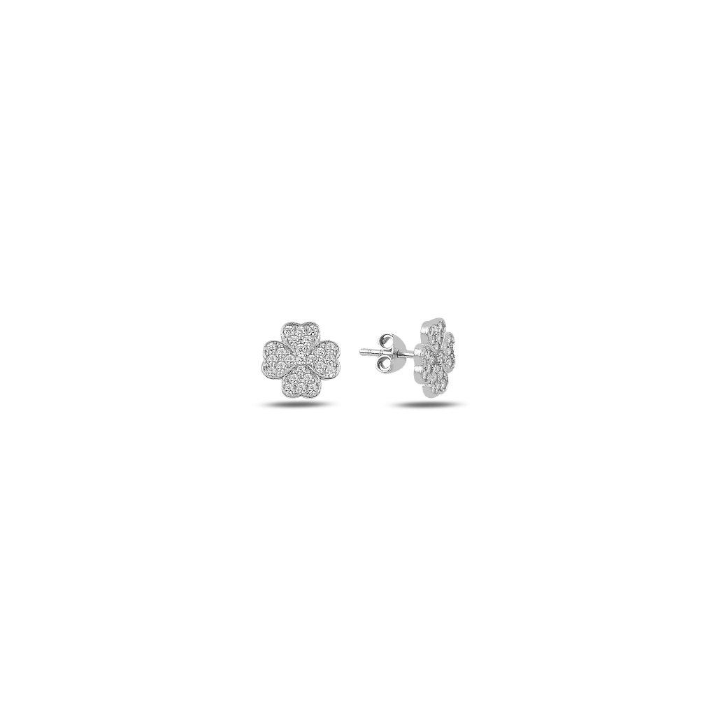Stříbrné náušnice čtyřlístek zirkon