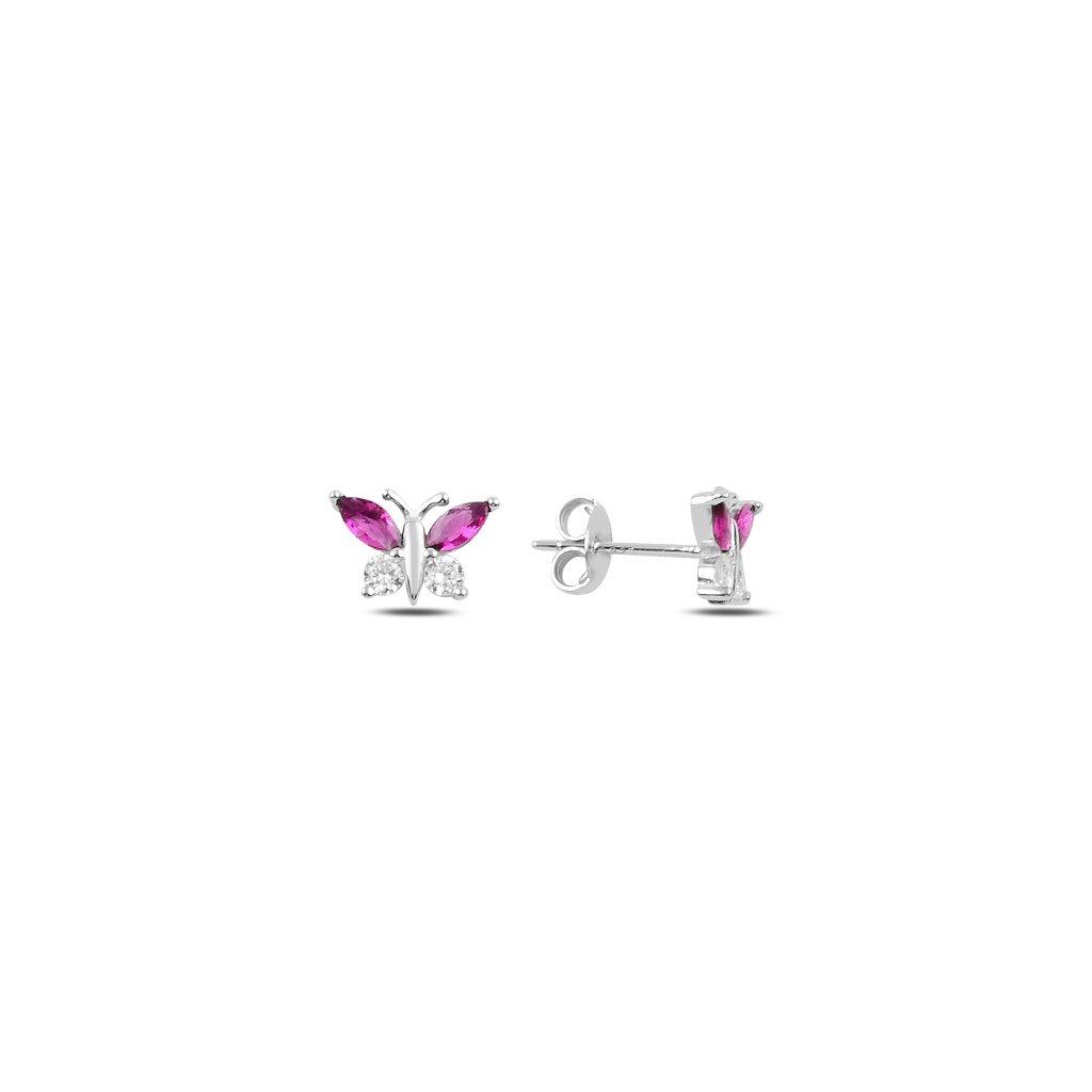 Stříbrné náušnice motýlci růžová křídélka