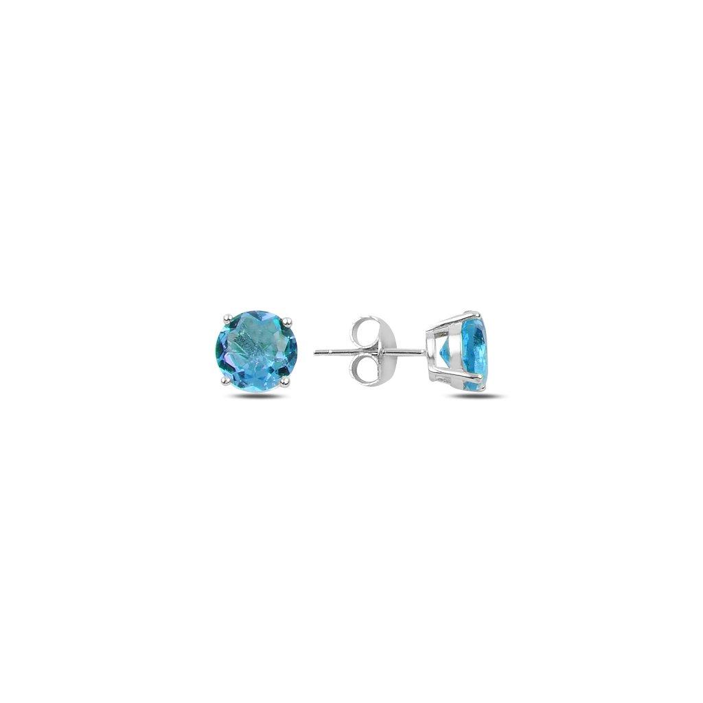 Stříbrné náušnice modrý zirkon