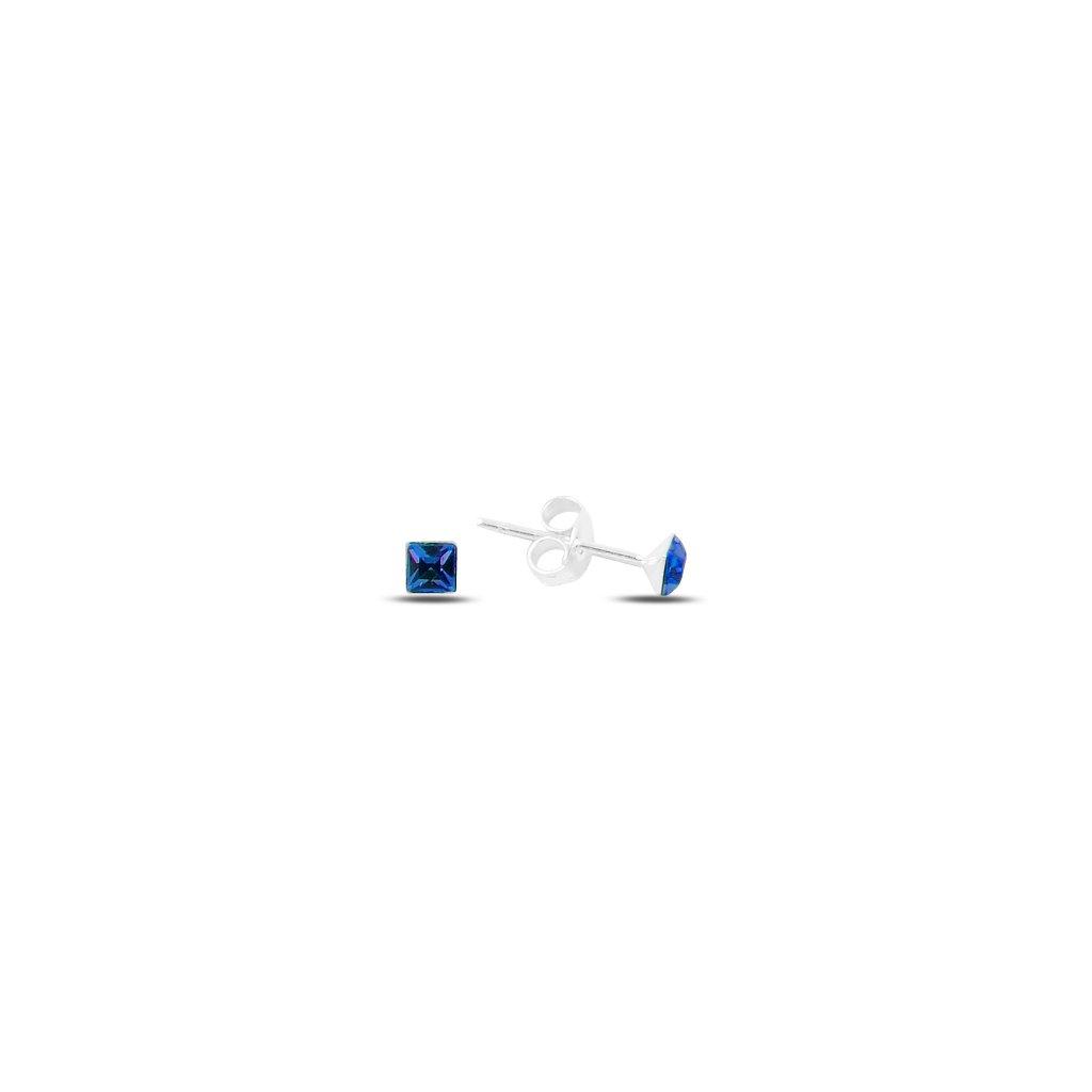 Stříbrné čtvercové náušnice 8 mm modrá