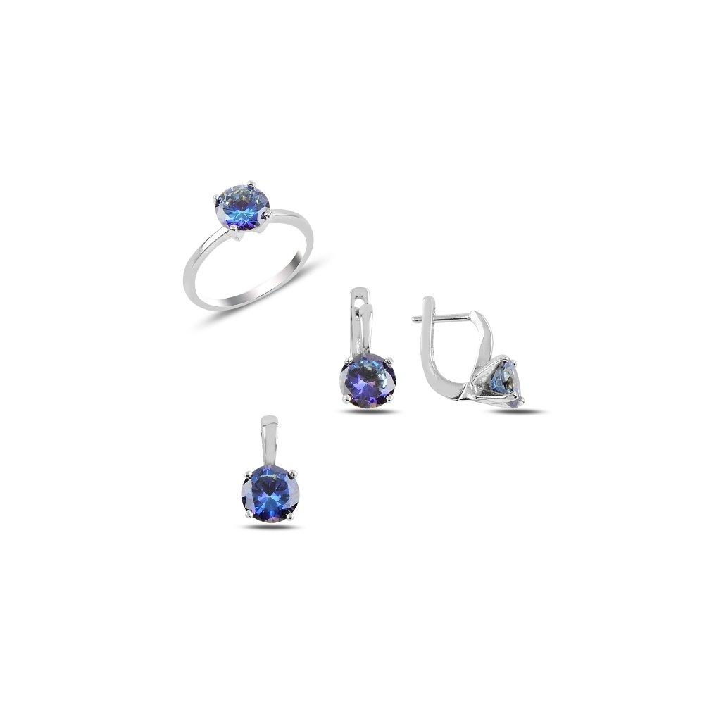 Luxusní sada s barevnými zirkony - prsten, náušnice a přívěsek