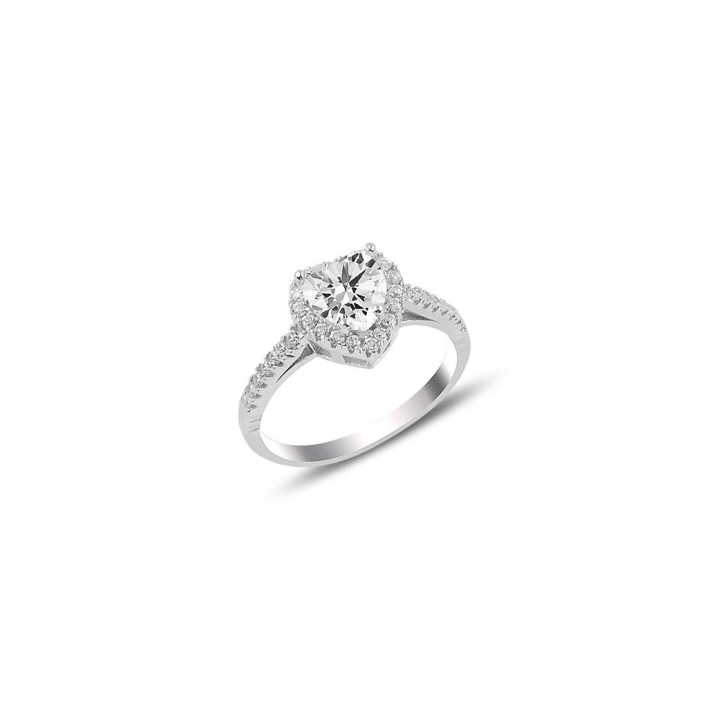 Stříbrný prsten ve tvaru srdce - velký zirkon