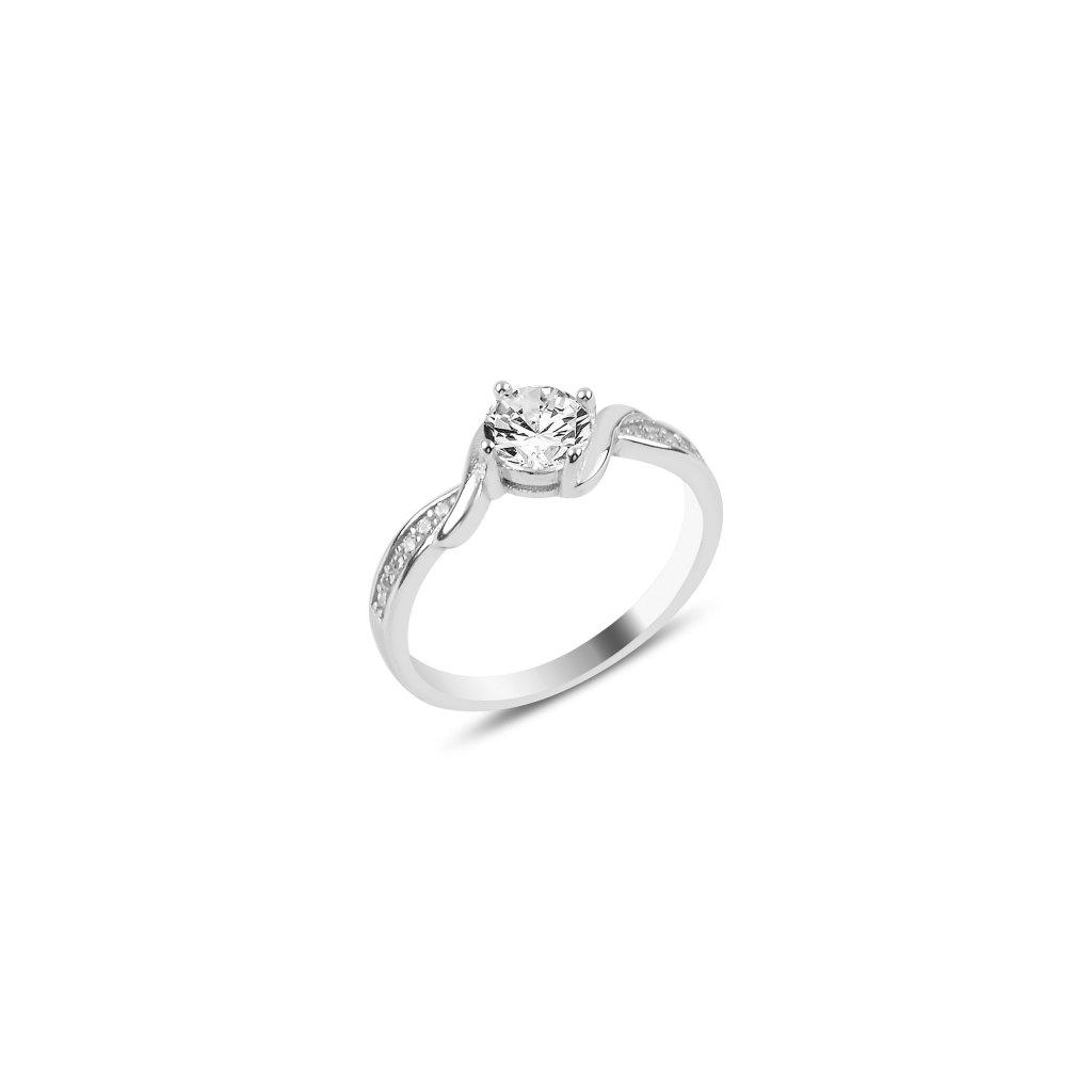 Stříbrný prsten s velkým čirým zirkonem