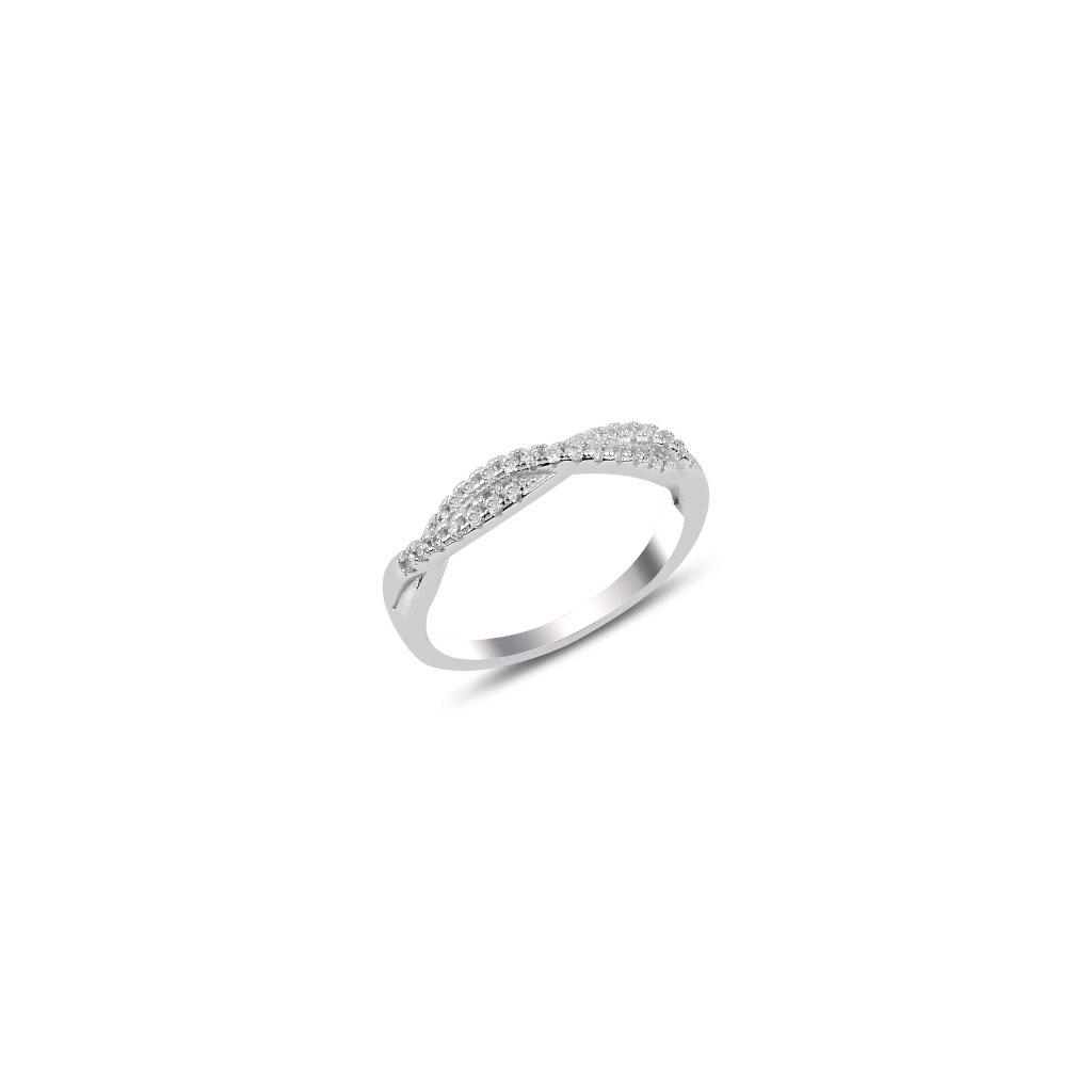 Stříbrný prstýnek - propletené zirkony