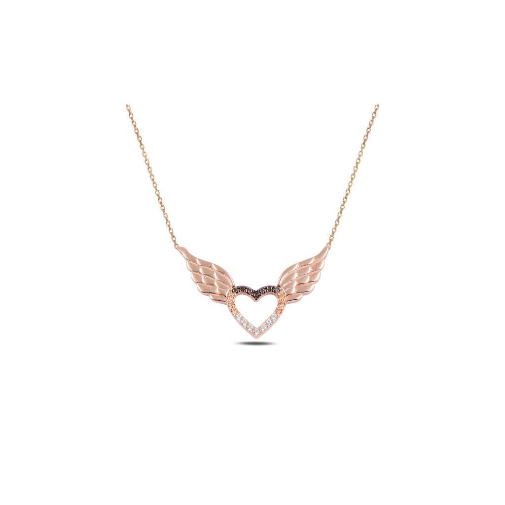 Stříbrný náhrdelník andělké sdrce růžová