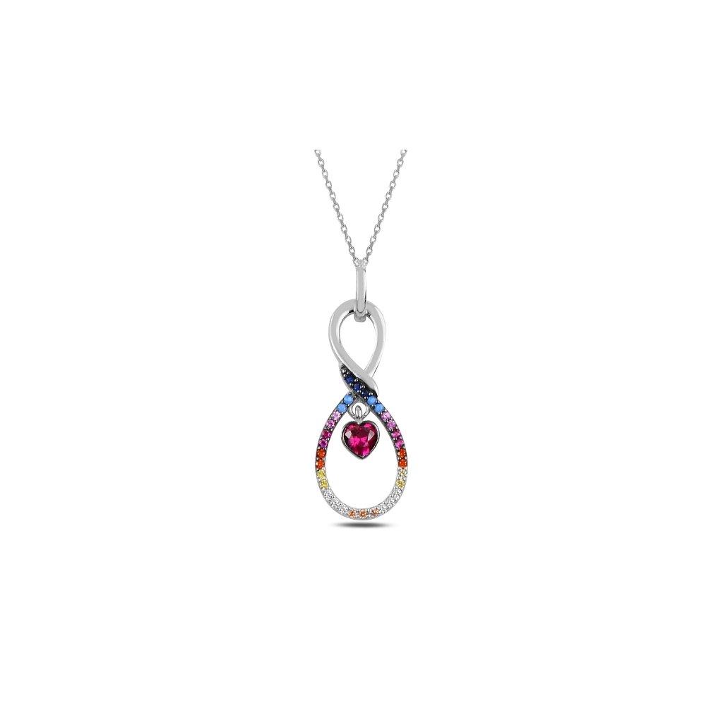 Stříbrný náhrdelník - barvené nekonečno