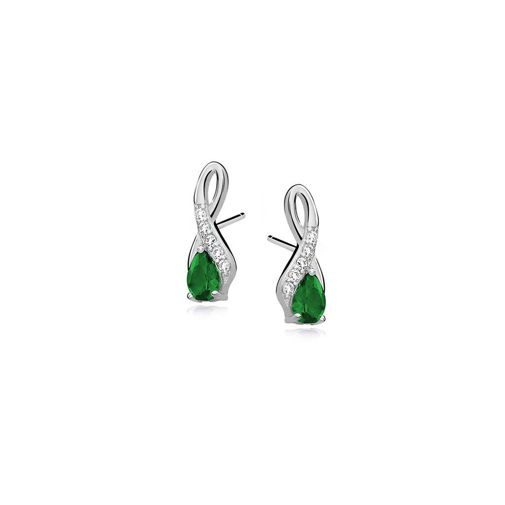 Luxusní náušnice smaragdový zirkon- slzičky, zirkony