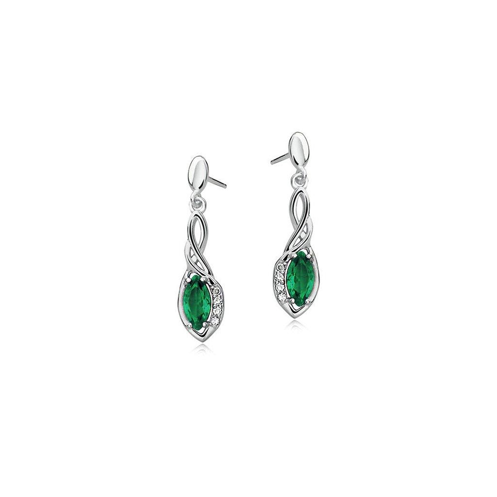 Luxusní náušnice smaragdový zirkon