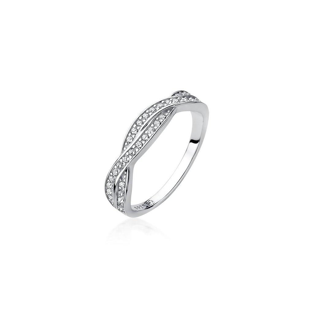 Stříbrný propletený prstýnek - zirkony