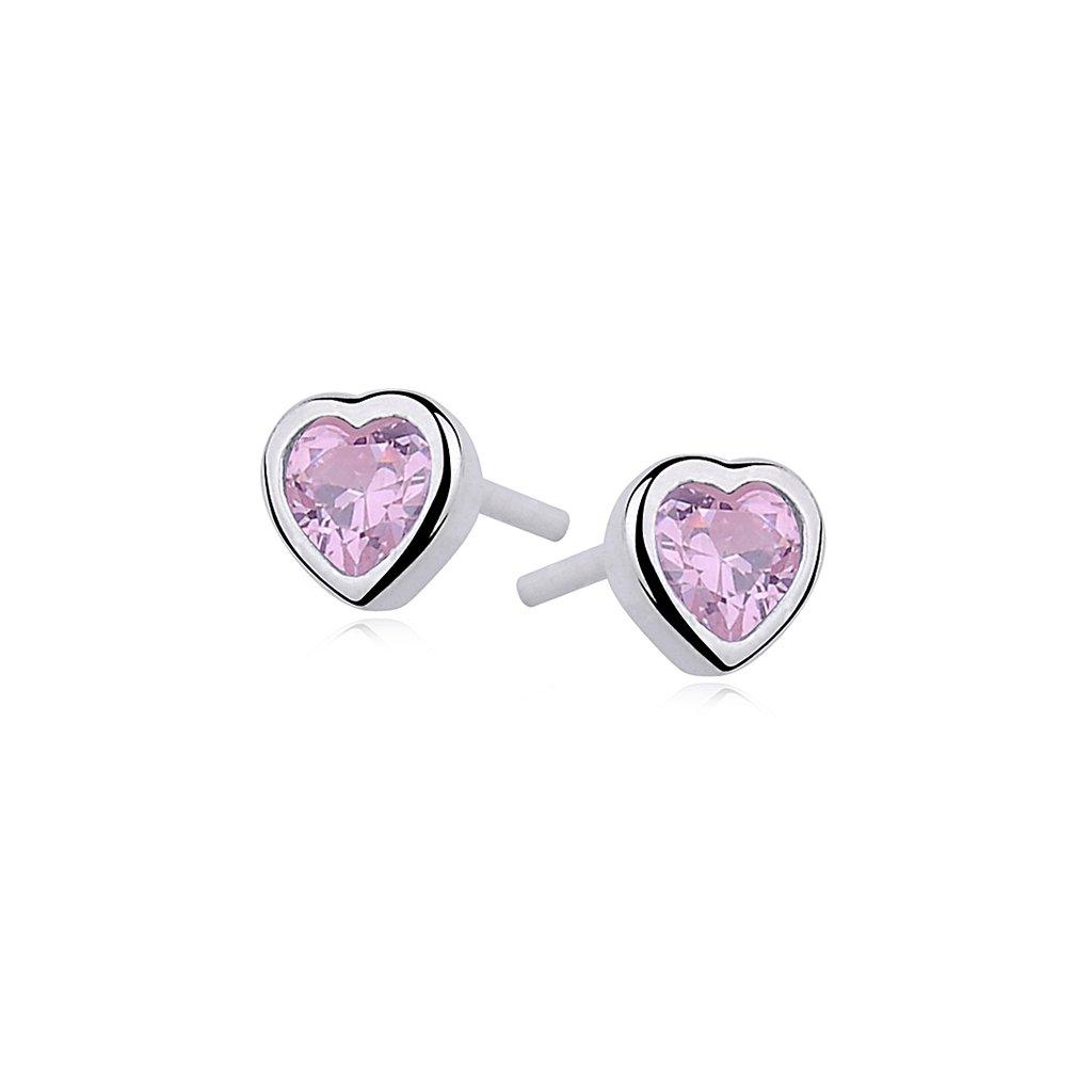 Stříbrné náušnice - světle růžový zirkon