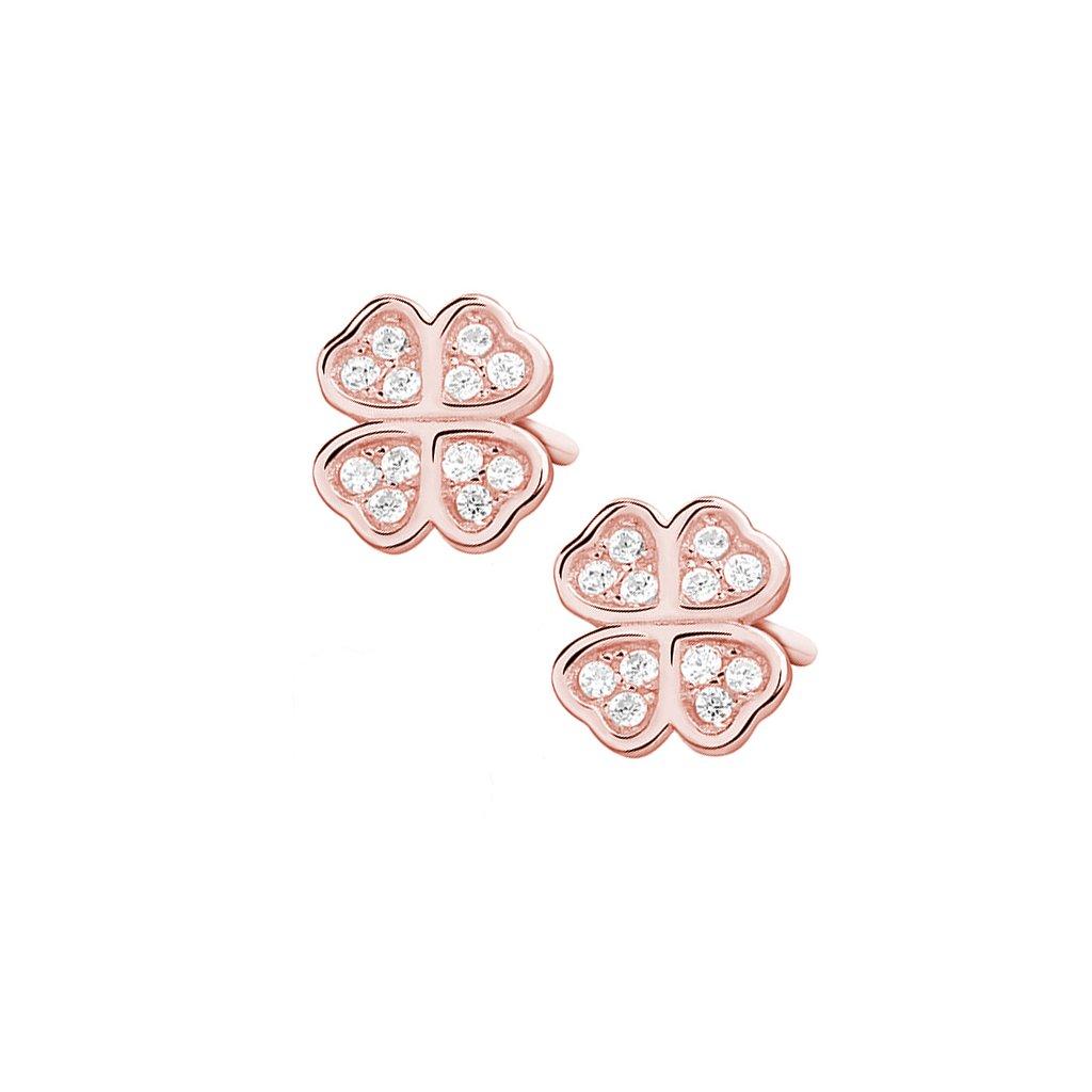 Stříbrné náušnice čtyřlístek  - růžové zlacení