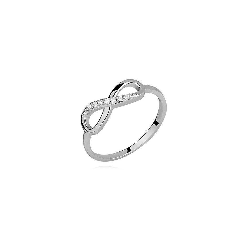 Stříbrný prstýnek nekonečno - zirkon