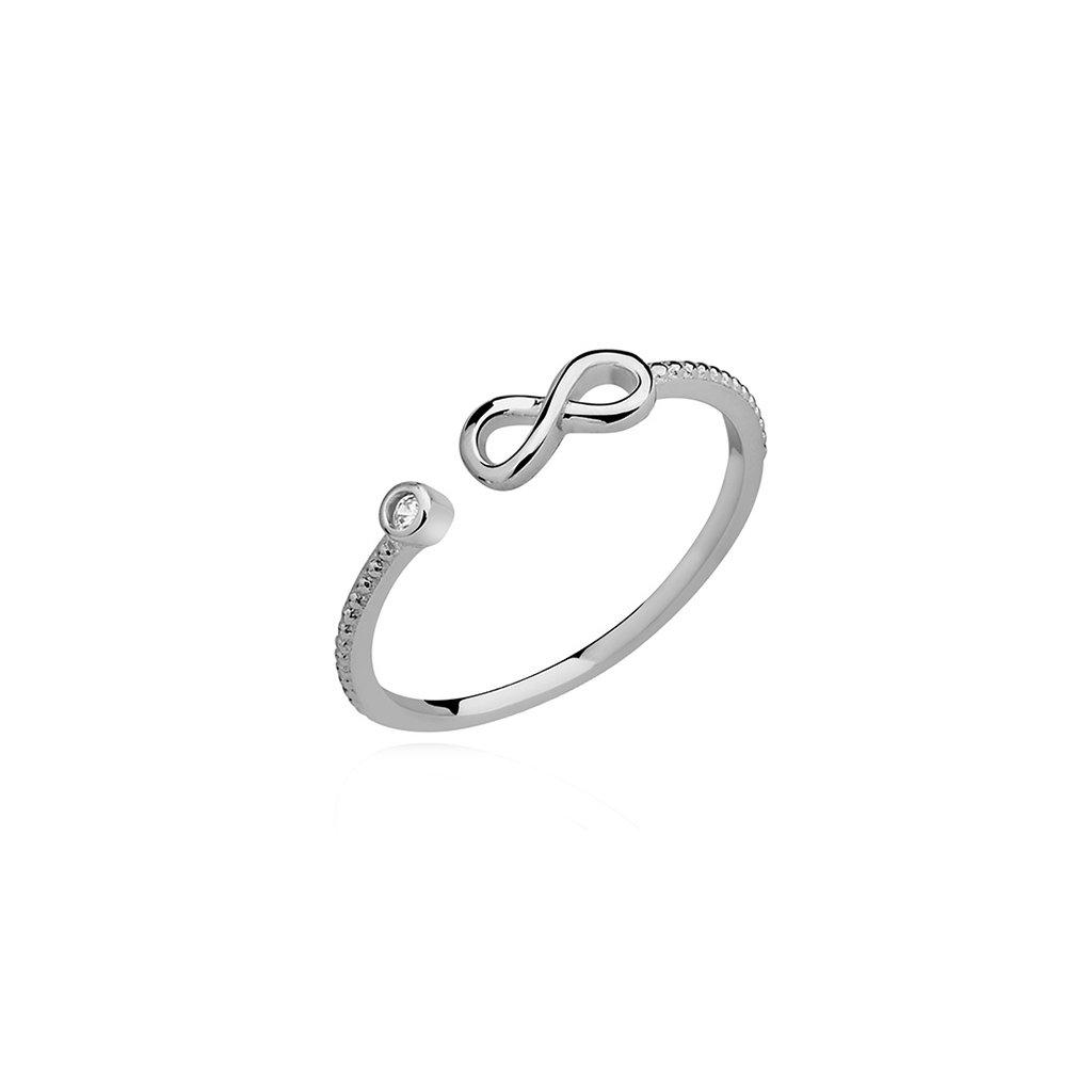 Stříbrný rozdvojený prstýnek nekonečno - zirkon