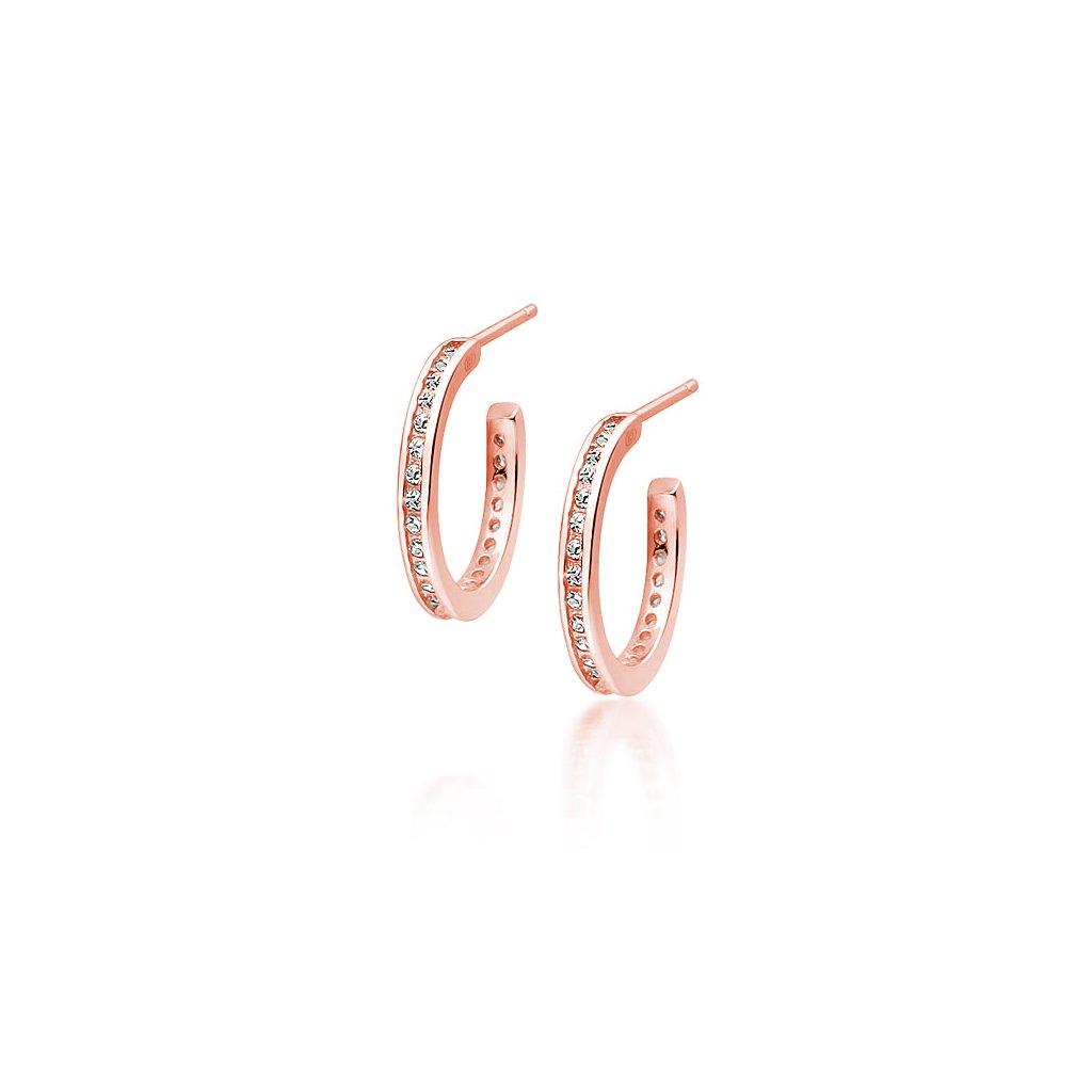 Stříbrné náušnice kroužky - zirkony - růžové zlacení