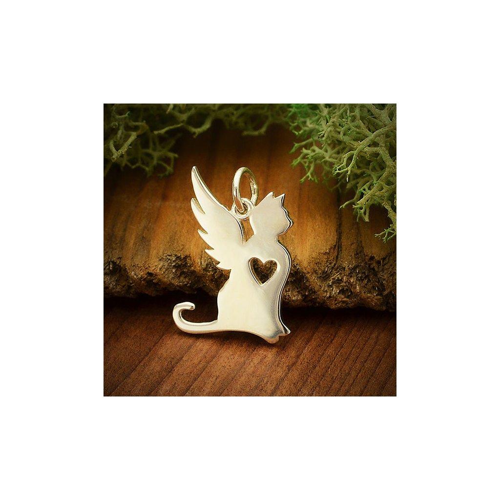 Stříbrný přívěsek andělské kočičí kouzlo