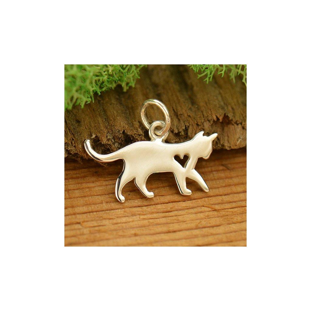 Stříbrný přívěsek kočka se srdíčkem