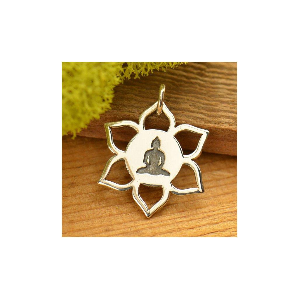 Stříbrný přívěsek meditující Buddha