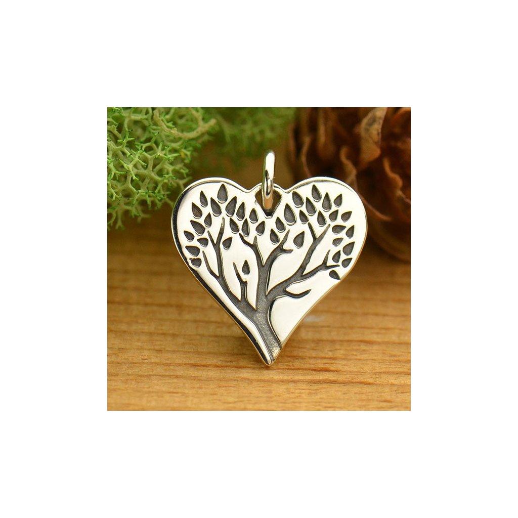 Stříbrný přívěsek strom života v srdci