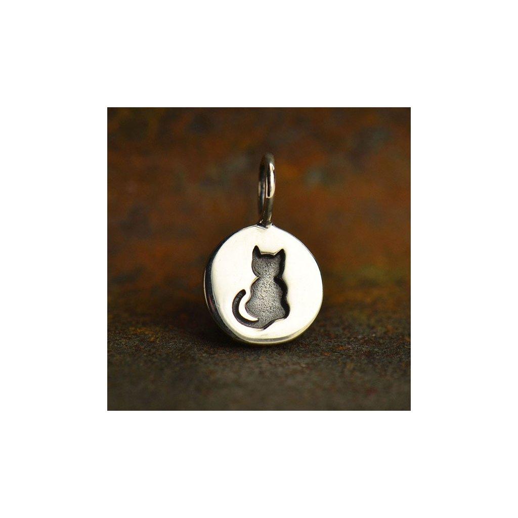 Stříbrný přívěsek malá kočička medailon