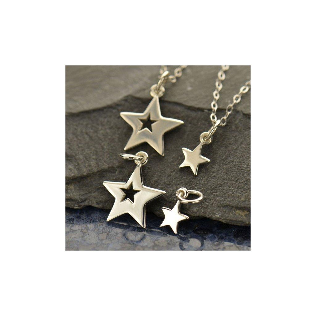 Sada stříbrných přívěsků Hvězdy