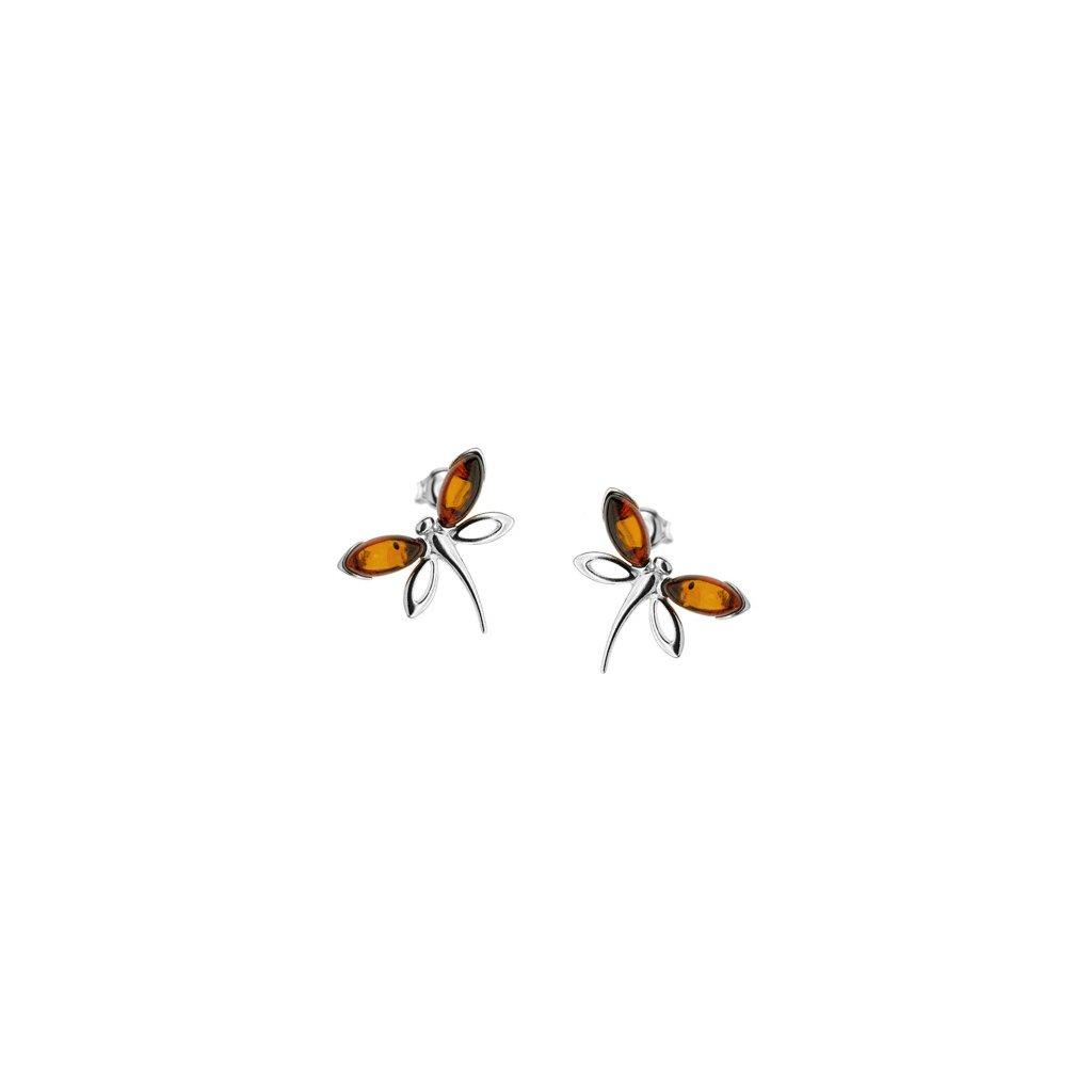 náušnice vážky jantar