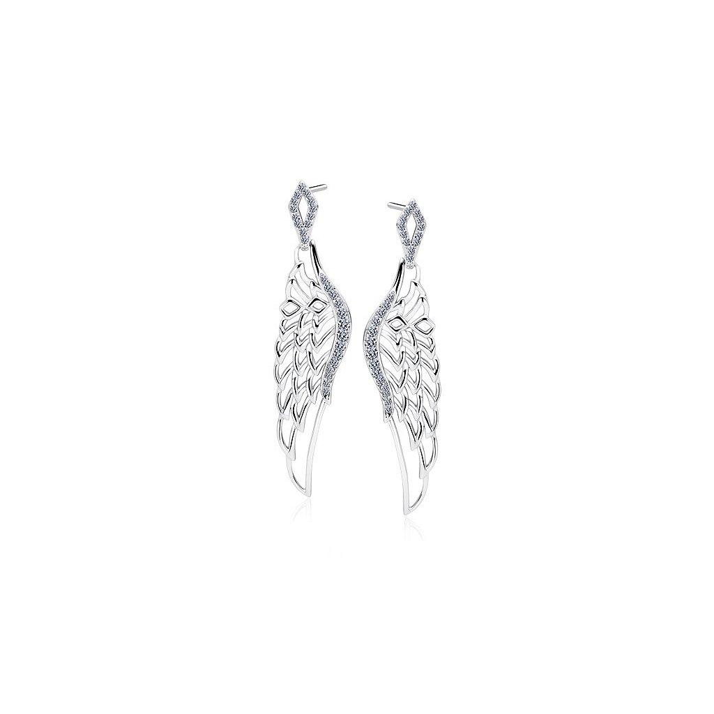 velké andělské náušnice, stříbrné se zirkony