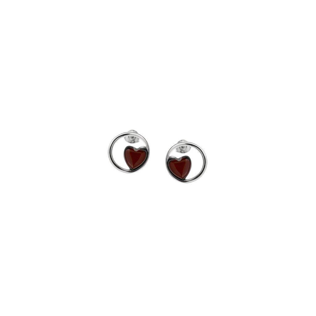 náušnice jantarová srdce