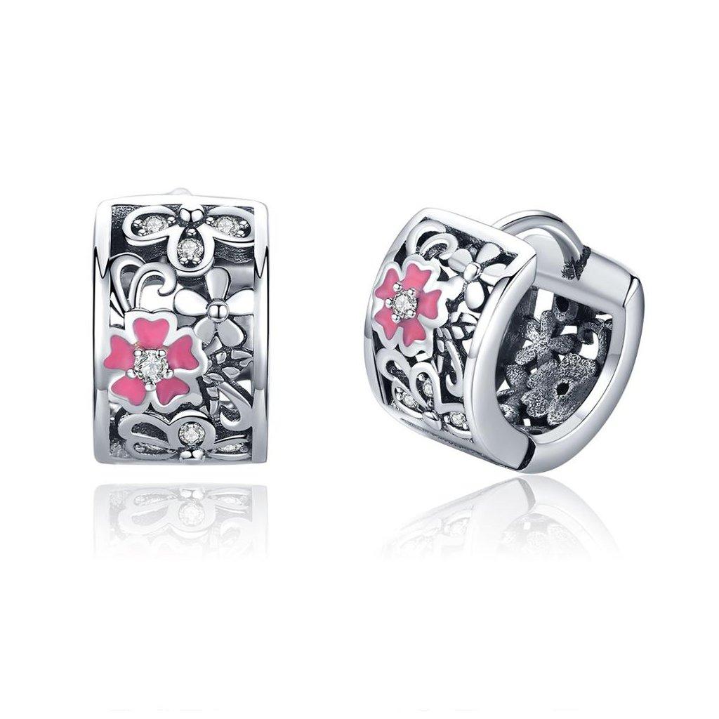 Stříbrné kytičkové náušnice růžový květ
